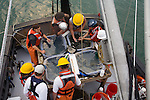 Puget Sound, marine research, Washington State, National Marine Fisheries Service, NMFS, scientists trawl net to monitor diseases of fish in Puget Sound, Skagit Bay, aboard the research vessel Harold W. Streeter