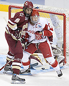 Brian Boyle, Adam Burish (in front of Cory Schneider) - The University of Wisconsin Badgers defeated the Boston College Eagles 2-1 on Saturday, April 8, 2006, at the Bradley Center in Milwaukee, Wisconsin in the 2006 Frozen Four Final to take the national Title.