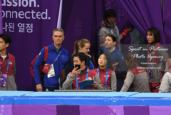 Charlotte Gilmartin (GBR) waits for te decision of the judges. Short track. Gangneung ice arena. Pyeongchang2018 winter Olympics. Gangneung. Republic of Korea. 10/02/2018. ~ MANDATORY CREDIT Garry Bowden/SIPPA - NO UNAUTHORISED USE - +44 7837 394578