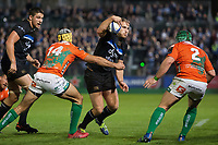 Max Clark of Bath Rugby takes on the Benetton Rugby defence. European Rugby Champions Cup match, between Bath Rugby and Benetton Rugby on October 14, 2017 at the Recreation Ground in Bath, England. Photo by: Patrick Khachfe / Onside Images