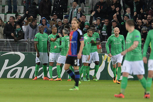 18.02.2016. Saint Etienne, France. UEFA Europa League. Saint Etienne versus FC Basel.  Goal celebrations from Kevin Monnet Paquet