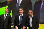 Christian Prudhomme, Tour Director, and 5 time winners Eddy Merckx (BEL) and Bernard Hinault (FRA) at the Tour de France 2019 route presentation held at Palais de Congress, Paris, France. 25th October 2018.<br />