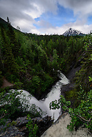 Juneau Falls and Juneau Creek carve their way through the valley en route to the Kenai River near Cooper Landing, Alaska.