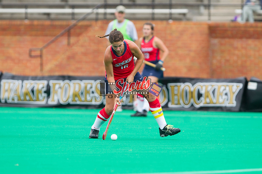 Chelsea Davies (16) of the Richmond Spiders controls the ball during first half action against the Wake Forest Demon Deacons at Kentner Stadium on September 29, 2013 in Winston-Salem, North Carolina.  The Demon Deacons defeated the Spiders 1-0 in overtime.  (Brian Westerholt/Sports On Film)