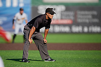 Umpire Cliburn Rondon during a NY-Penn League game between the West Virginia Black Bears and Auburn Doubledays on August 23, 2019 at Falcon Park in Auburn, New York.  West Virginia defeated Auburn 8-1, the first game of a doubleheader.  (Mike Janes/Four Seam Images)