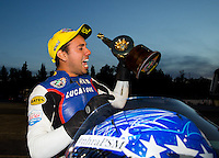 Nov 16, 2014; Pomona, CA, USA; NHRA pro stock motorcycle rider Hector Arana Jr celebrates after winning the Auto Club Finals at Auto Club Raceway at Pomona. Mandatory Credit: Mark J. Rebilas-USA TODAY Sports
