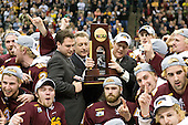 Jake Hendrickson (Duluth - 15), Mike Connolly (Duluth - 22), Scott Sandelin (Duluth - Head Coach), Max Tardy (Duluth - 19), Scott Kishel (Duluth - 6), ?, Keegan Flaherty (Duluth - 14), Jack Connolly (Duluth - 12), Kyle Schmidt (Duluth - 7), Mike Seidel (Duluth - 17) - The University of Minnesota-Duluth Bulldogs celebrated their 2011 D1 National Championship win on Saturday, April 9, 2011, at the Xcel Energy Center in St. Paul, Minnesota.