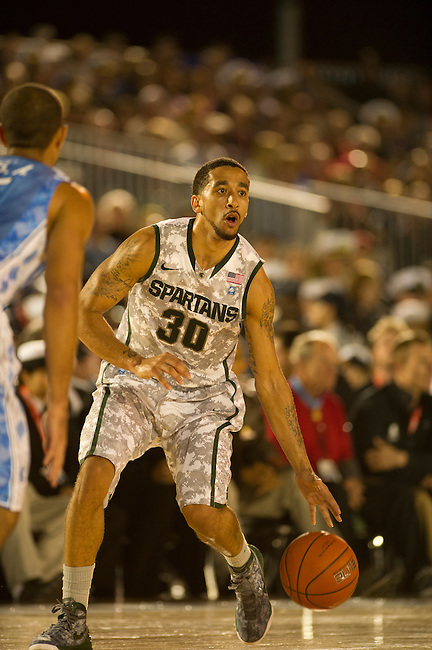 SAN DIEGO, CA - NOVEMBER 11, 2011: Brandon Wood (30) of the Michigan State Spartans in action during the 2011 Quicken Loans Carrier Classic versus the North Carolina Tar Heels on the USS Carl Vinson..(Photo by Robert Beck / ESPN)..- RAW FILE AVAILABLE -.- CMI000165181.jpg -