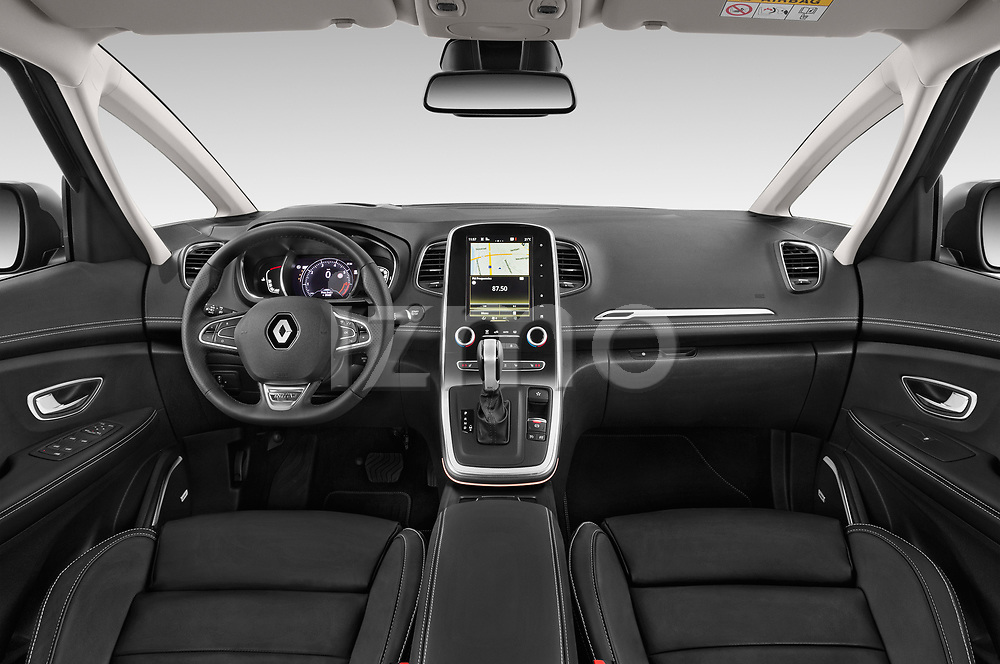 Stock photo of straight dashboard view of a 2018 Renault Grand Scenic initiale paris 5 Door Mini Van