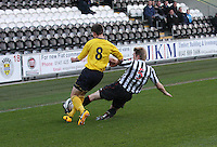Jordan Holt gets to the ball before Kris Faulds in the St Mirren v Falkirk Clydesdale Bank Scottish Premier League Under 20 match played at St Mirren Park, Paisley on 30.4.13.