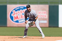 Peoria Javelinas first baseman Weston Wilson (18), of the Milwaukee Brewers organization, during an Arizona Fall League game against the Surprise Saguaros at Surprise Stadium on October 17, 2018 in Surprise, Arizona. (Zachary Lucy/Four Seam Images)