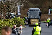 9th February 2020; Broadwood Stadium, Cumbernauld, North Lanarkshire, Scotland; Scottish Cup Football, Clyde versus Celtic; The Celtic team bus arrives for the match