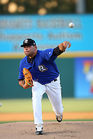 May 14 2009: Robert Fish of the Rancho Cucamonga Quakes pitches against the High Desert Mavericks at The Epicenter in Rancho Cucamonga,CA.  Photo by Larry Goren/Four Seam Images