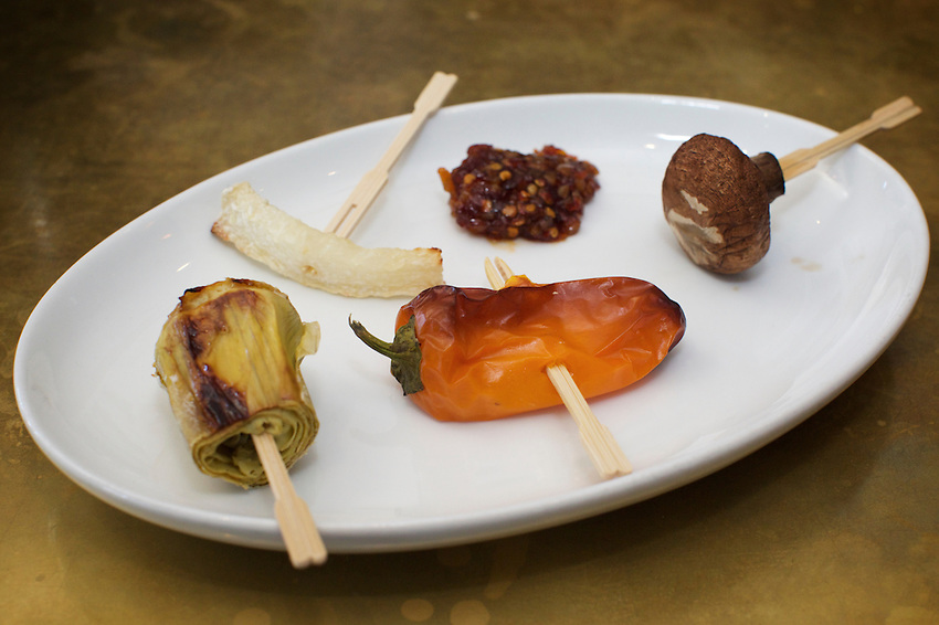 Brooklyn, NY - August 19, 2016:  Grilled veggie samples by Vendy Awards Best Vegan nominee Vegan Bandwagon.<br /> <br /> CREDIT: Clay Williams for Gothamist.<br /> <br /> &copy; Clay Williams / claywilliamsphoto.com