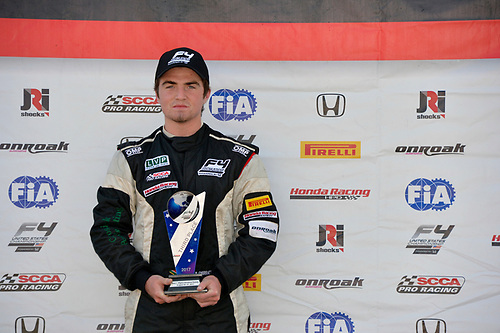 F4 US Championship<br /> Rounds 13-14-15<br /> Virginia International Raceway, Alton, VA USA<br /> Sunday 27 August 2017<br /> 37, Jordan Sherratt, victory lane<br /> World Copyright: Gavin Baker<br /> LAT Images