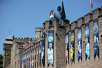 Pictured: A picture of Gareth Bale amongst a series of UEFA banners draped outside Cardiff Castle Thursday 25 May 2017<br />Re: Preparations for the UEFA Champions League final, between Real Madrid and Juventus in Cardiff, Wales, UK.