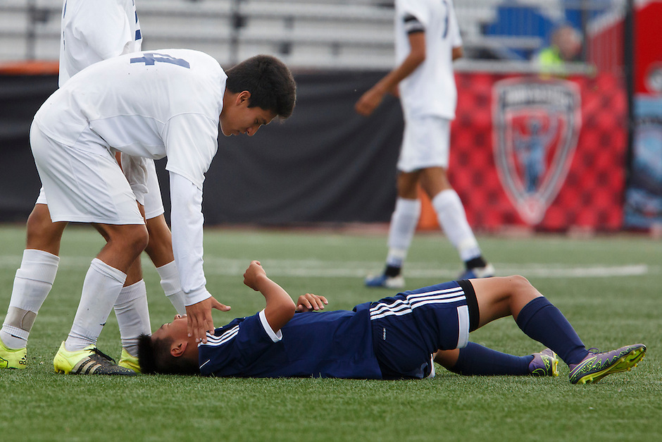 Mishawaka Marian's Maximiliano Frausto (4) checks on an injured Providence player during the IHSAA Class A Boys Soccer State Championship Game on Saturday, Oct. 29, 2016, at Carroll Stadium in Indianapolis. Marian won 4-0. Special to the Tribune/JAMES BROSHER