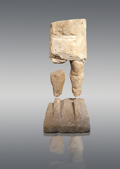 9th century BC Giants of Mont'e Prama  Nuragic stone statue of a warrior, Mont'e Prama archaeological site, Cabras. Museo archeologico nazionale, Cagliari, Italy. (National Archaeological Museum) - Grey Background