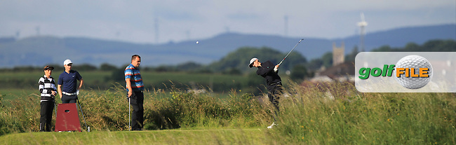 Tiernan McLarnon (Masereene) on the 3rd tee during Round 3 of Matchplay in the North of Ireland Amateur Open Championship at Portrush Golf Club, Portrush on Thursday 14th July 2016.<br /> Picture:  Thos Caffrey / www.golffile.ie