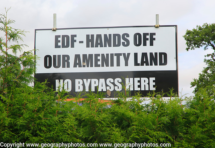 No Bypass protest poster against EDF plans for amenity land, Stratford St Andrew, Suffolk, England, UK