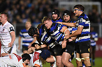 Bath Rugby forwards celebrate a strong scrum. Anglo-Welsh Cup match, between Bath Rugby and Leicester Tigers on November 10, 2017 at the Recreation Ground in Bath, England. Photo by: Patrick Khachfe / Onside Images