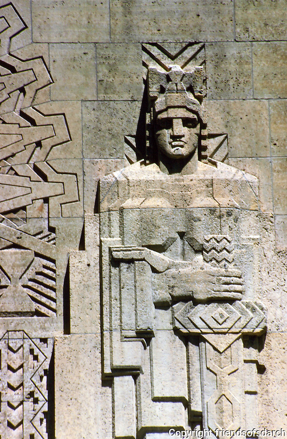 Detroit:  Guardian Building--detail above entrance and to the right. Photo '97.
