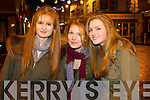 Leigh Huggard, Cara Sugrue and Maggie Horan (all from Killarney) enjoying the Street Party in Killarney to ring in the New Year on Tuesday night.