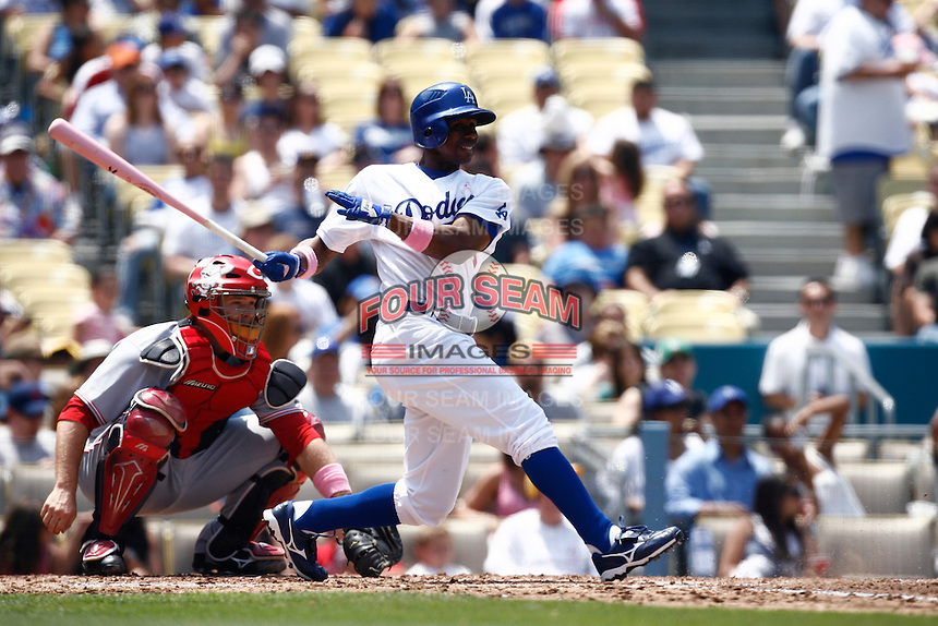 Juan Pierre of the Los Angeles Dodgers during a 2007 MLB season game at Dodger Stadium in Los Angeles, California. (Larry Goren/Four Seam Images)