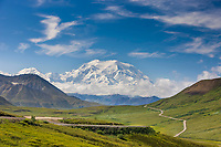 View of the North and South peaks of Denali from Stoney Dome in Denali National Park, Interior, Alaska