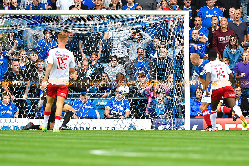 Curtis Main of Portsmouth right scores his second and Portsmouth's third during Portsmouth vs Crawley Town, Sky Bet EFL League 2 Football at Fratton Park on 3rd September 2016