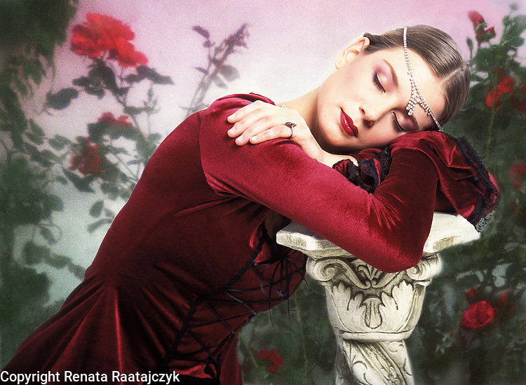 Sleeping Beauty - photo-illustration. A young woman depicted as sleeping beauty. Digitally enhanced fine art portrait.