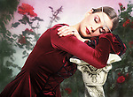 Sleeping Beauty - photo-illustration. A young woman depicted as sleeping beauty. Digitally enhanced fine art portrait.