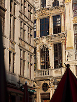 Detail of the Maison des Ducs de Brabant facade and Grand Place,  Brussels, Belgium