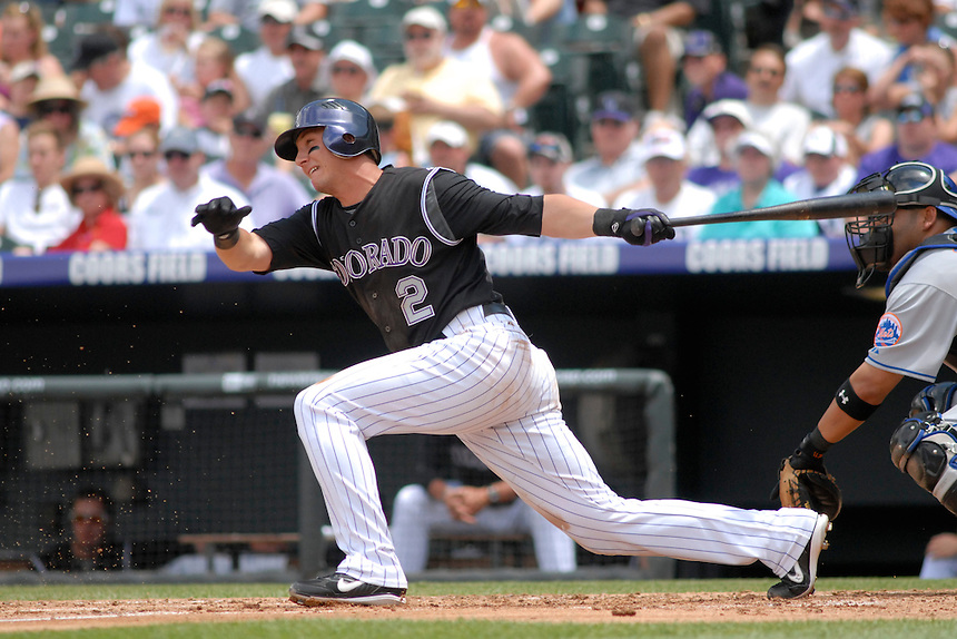 22 June 2008: Colorado Rockies shortstop Troy Tulowitzki puts a ball into play against the New York Mets. The Mets defeated the Rockies 3-1 at Coors Field in Denver, Colorado on June 22, 2008. FOR EDITORIAL USE ONLY. FOR EDITORIAL USE ONLY