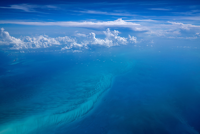 Clouds over Bahama islands. from airplane.