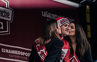race winner Tiesj Benoot (BEL/Lotto-Soudal) getting the podium kisses<br /> <br /> 12th Strade Bianche 2018<br /> Siena > Siena: 184km (ITALY)