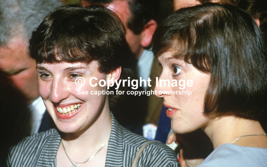 Cherith Paisley, left, and Rhonda Paisley, daughters of Rev Ian Paisley, pictured at the 1984 European Election count. Their father, the Democratic Unionist, candidate, topped the poll. 19840083CP+RP1..Copyright Image from Victor Patterson, 54 Dorchester Park, Belfast, UK, BT9 6RJ..Tel: +44 28 9066 1296.Mob: +44 7802 353836.Voicemail +44 20 8816 7153.Skype: victorpattersonbelfast.Email: victorpatterson@me.com.Email: victorpatterson@ireland.com (back-up)..IMPORTANT: If you wish to use this image or any other of my images please go to www.victorpatterson.com and click on the Terms & Conditions. Then contact me by email or phone with the reference number(s) of the image(s) concerned.