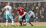 Diafra Sakho of West Ham United heads the first goal during the Premier League match at the Old Trafford Stadium, Manchester. Picture date: November 27th, 2016. Pic Simon Bellis/Sportimage