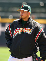 April 21, 2005:  Pitcher Francisco Cruceta of the Buffalo Bisons during a game at Dunn Tire Park in Buffalo, NY.  Buffalo is the International League Triple-A affiliate of the Cleveland Indians.  Photo by:  Mike Janes/Four Seam Images