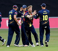 Calum Haggett of Kent celebrates after taking the wicket of Maddinson during the Vitality Blast south group game between Kent Spitfires and Surrey at the St Lawrence ground, Canterbury, on Fri July 20, 2018