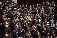 Roma, 20 Aprile 2013.Camera dei Deputati.Votazione del Presidente della Repubblica a camere riunite..Applausi dagli scranni del PDL per l'elezione di Giorgio Napolitano