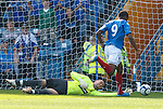 Frederic Piquionne takes the ball around Allan McGregor to score goal no 2 for Rangers