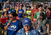 Kansas City, MO - Sunday July 02, 2017:  Fans move toward their seating before a regular season National Women's Soccer League (NWSL) match between FC Kansas City and the Houston Dash at Children's Mercy Victory Field.
