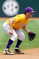 LSU Tigers shortstop Alex Bregman (30) on defense against the Texas A&M Aggies in the NCAA Southeastern Conference baseball game on May 11, 2013 at Blue Bell Park in College Station, Texas. LSU defeated Texas A&M 2-1 in extra innings to capture the SEC West Championship. (Andrew Woolley/Four Seam Images).