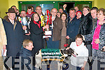 PRESENTATION: Thomas Stack owner of Killorane Boy winner of the Greyhound and Pet World Kingdom Derby Final being presented with winners trophy by Kathleen Murphy of Greyhound and Pet World at the Kingdom Greyhound Stadium on Saturday.