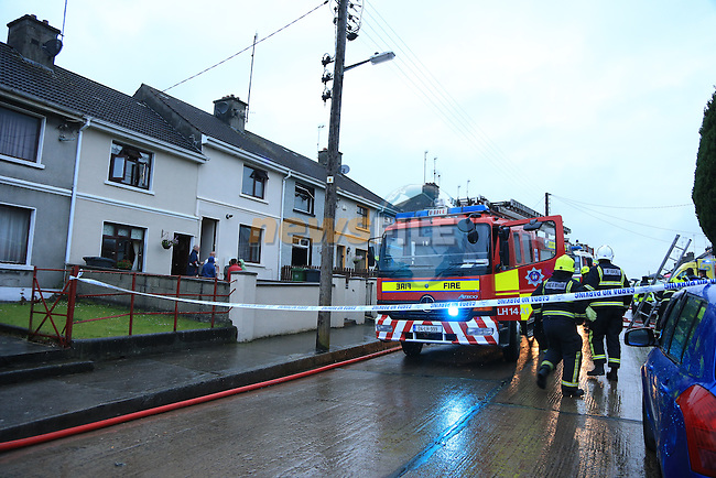 The scene of a fatal house fire in Drogheda, Confirmed report of one fatality, Fire units from Drogheda, Dunleer and Dundalk attended the scene of the fire in a terrace house in Hand street.<br /> Picture:  Fran Caffrey / www.newsfile.ie