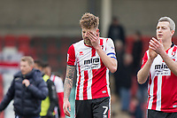 Team captain Harry Pell of Cheltenham Town looks dejected by defeat at full time of the Sky Bet League 2 match between Cheltenham Town and Cambridge United at the LCI Stadium, Cheltenham, England on 18 March 2017. Photo by Mark  Hawkins / PRiME Media Images.