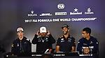 13.07.2017, Silverstone Circuit, Silverstone, FORMULA 1 BRITISH GRAND PRIX 2017, 13.07. - 16.07.2017<br /> , im Bild<br /> Pressekonferenz:<br /> Daniil Kvyat (RUS#26), Scuderia Toro Rosso, Lewis Hamilton (GB#44), Mercedes AMG Petronas Formula One Team, Daniel Ricciardo (AUS#3), Infiniti Red Bull Racing, Pascal Wehrlein (GER#94), Sauber F1 Team<br /> <br /> Foto &copy; nordphoto / Bratic