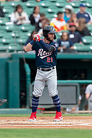 Reno Aces second baseman Wyatt Mathisen (21) batting during a game against the Fresno Grizzlies at Chukchansi Park on April 8, 2019 in Fresno, California. Fresno defeated Reno 7-6. (Zachary Lucy/Four Seam Images)