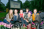 L-r  Aoife King, Ciara O'Connor, Zack Brosnan, Hugo Wells, Patrick O'Donnell and Roksana Jaglowska enjoying the Open Air Screening of Tom Hanks's film  'Big' in Pearse Park on Friday